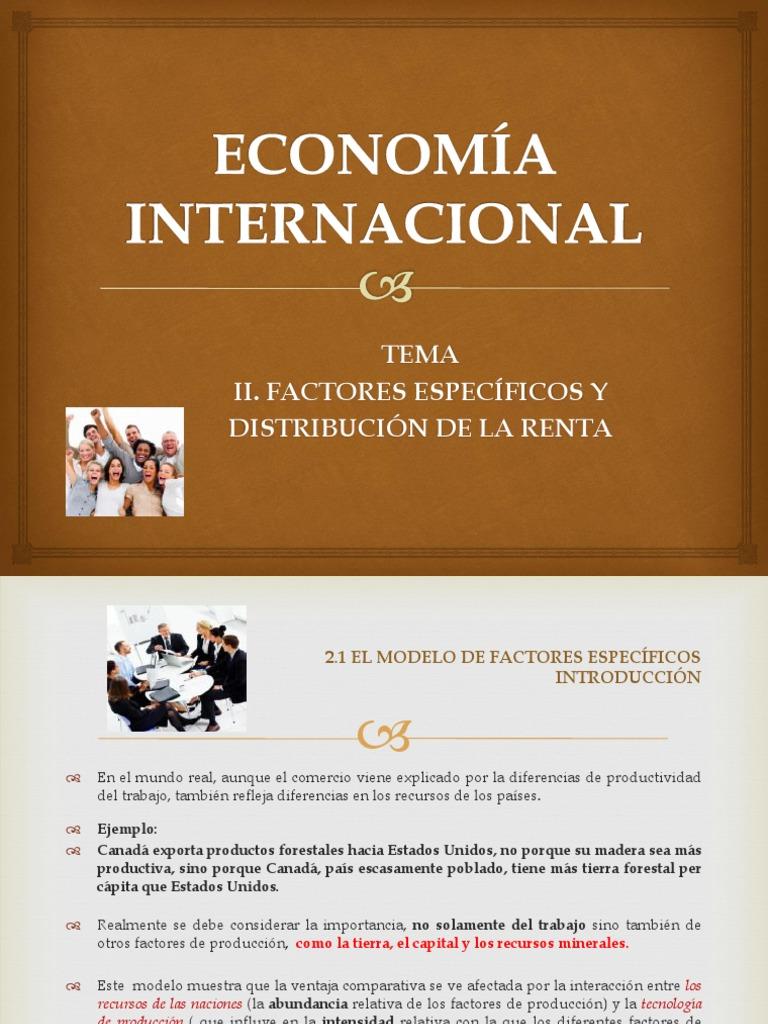 Econom a internacional factores especificos y distribucion de la renta