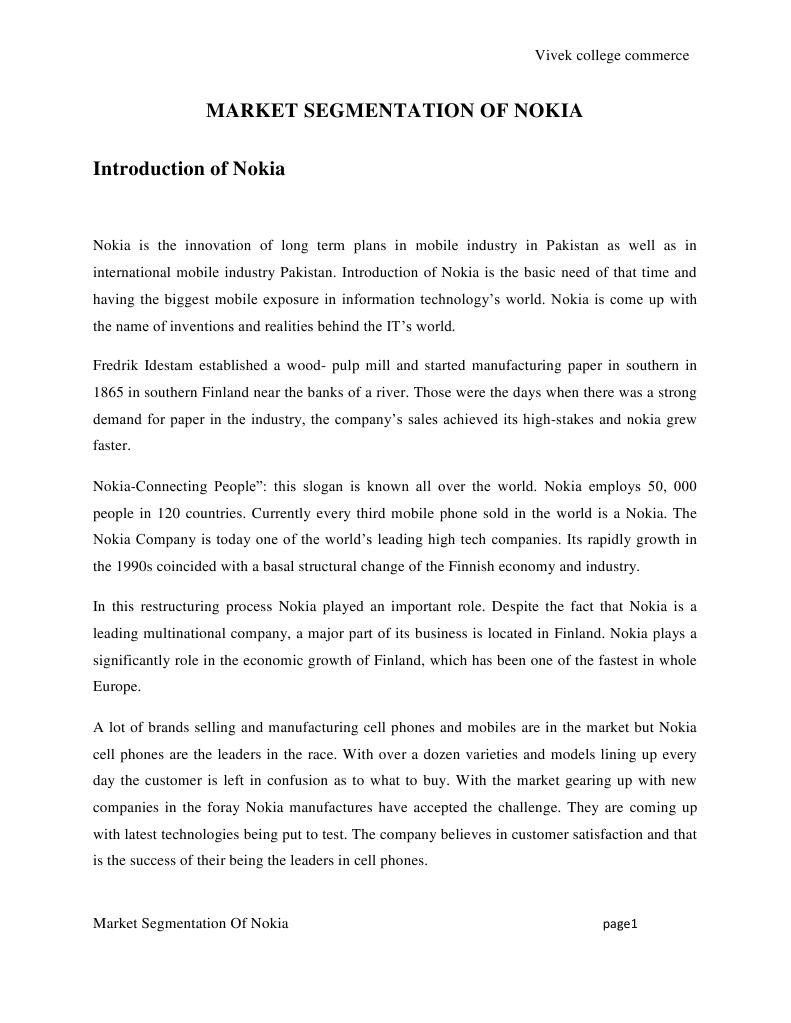Market Segmentation Of Nokia: Vivek college commerce