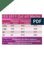 IES 2011 Cut Off Marks Engineering Service Cutoff Marks