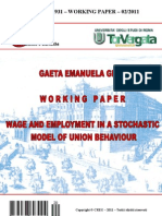 Wage and employment in a stochastic model of union behaviour