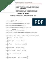 LISTA DE EXERCÍCIOS INTEGRAIS DUPLAS 2012