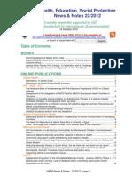 Health, Education, Social Protection News & Notes 22/2012