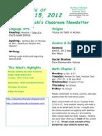 October 15 Newsletter