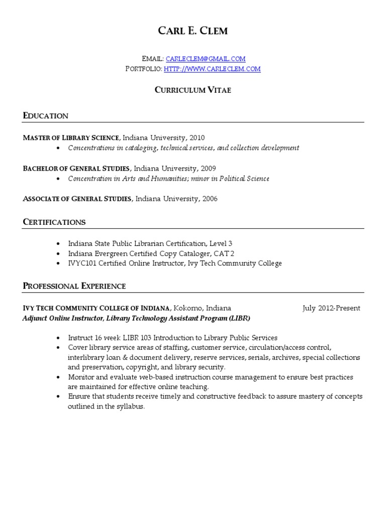 Carl E Clem CV Portfolio 102012 | Libraries | Library Science