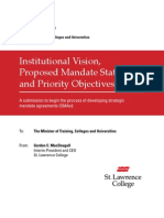 Ontario - Institutional Vision, Proposed Mandate Statement and Priority Objectives - St. Lawrence College