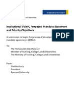 Ontario - Institutional Vision, Proposed Mandate Statement and Priority Objectives - Ryerson University