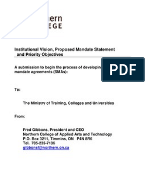 Ontario Institutional Vision Proposed Mandate Statement And Priority Objectives Northern College Of Applied Arts And Technology Distance Education Educational Technology