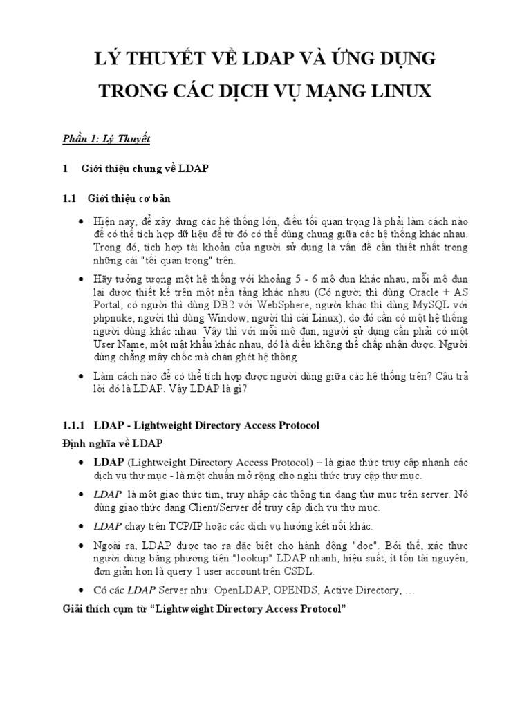 lý thuyết về ldap và ứng dụng trong các dịch vụ mạng linux