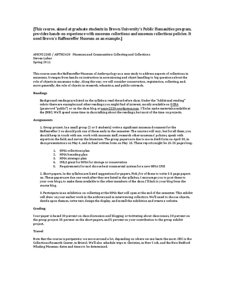Steven Lubar Syllabus for AMCV2220D - Collections | Museum | Brown