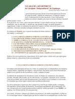 DECLARACIÓ I ADVERTIMENT, SOBRE LA INDEPENDENCIA DE CATALUNYA