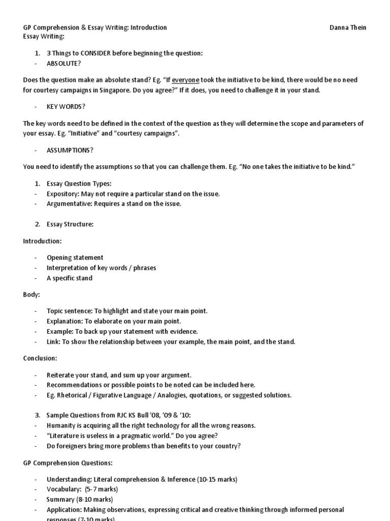 beginning essay question