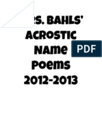 Mrs. Bahls' Acrostic Name Poems