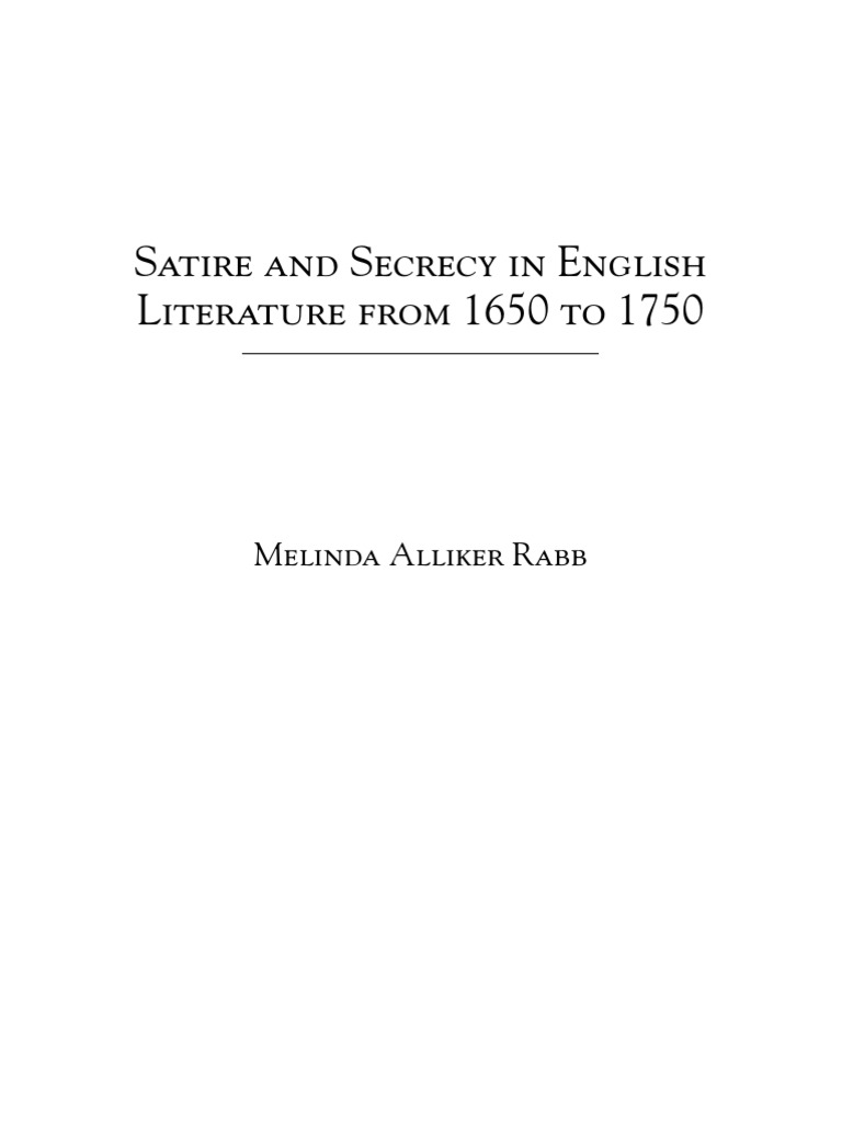 Alliker Rabb Satire And Secrecy In English Literature From 1650 To