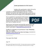 Steve Frank Questionnaire