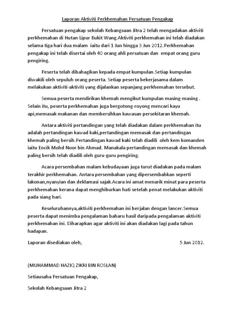 Laporan Aktiviti Perkhemahan Persatuan Pengakap