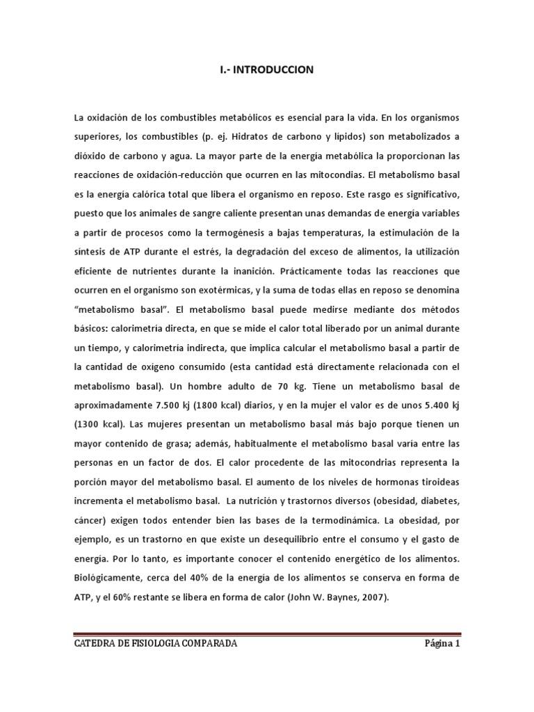 Metabolismo Basal - Metabolismo - Ciencias de la tierra y..