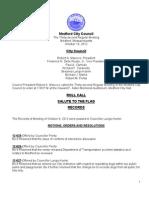 Medford City Council Agenda October 16, 2012