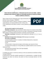RESULTADO - Edital 2º Processo Seletivo Concomitante Subsequente 2012