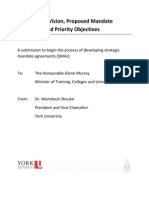 Ontario - Institutional Vision, Proposed Mandate Statement and Priority Objectives - York University