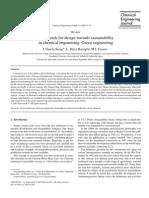 Nuevas tendencias para el desarrollo de diseños sostenibles en Ingeniería química verde