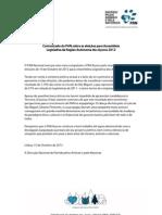 Comunicado sobre eleições AR Açores