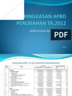 Ringkasan APBD Perubahan TA 2012 Banjarnegara
