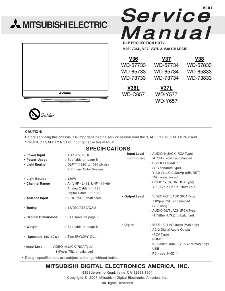 Mitsubishi Service Manual For Dlp Projection Hdtv Model Wd