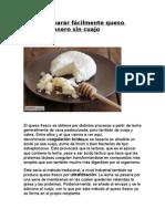 Cómo preparar fácilmente queso fresco casero sin cuajo