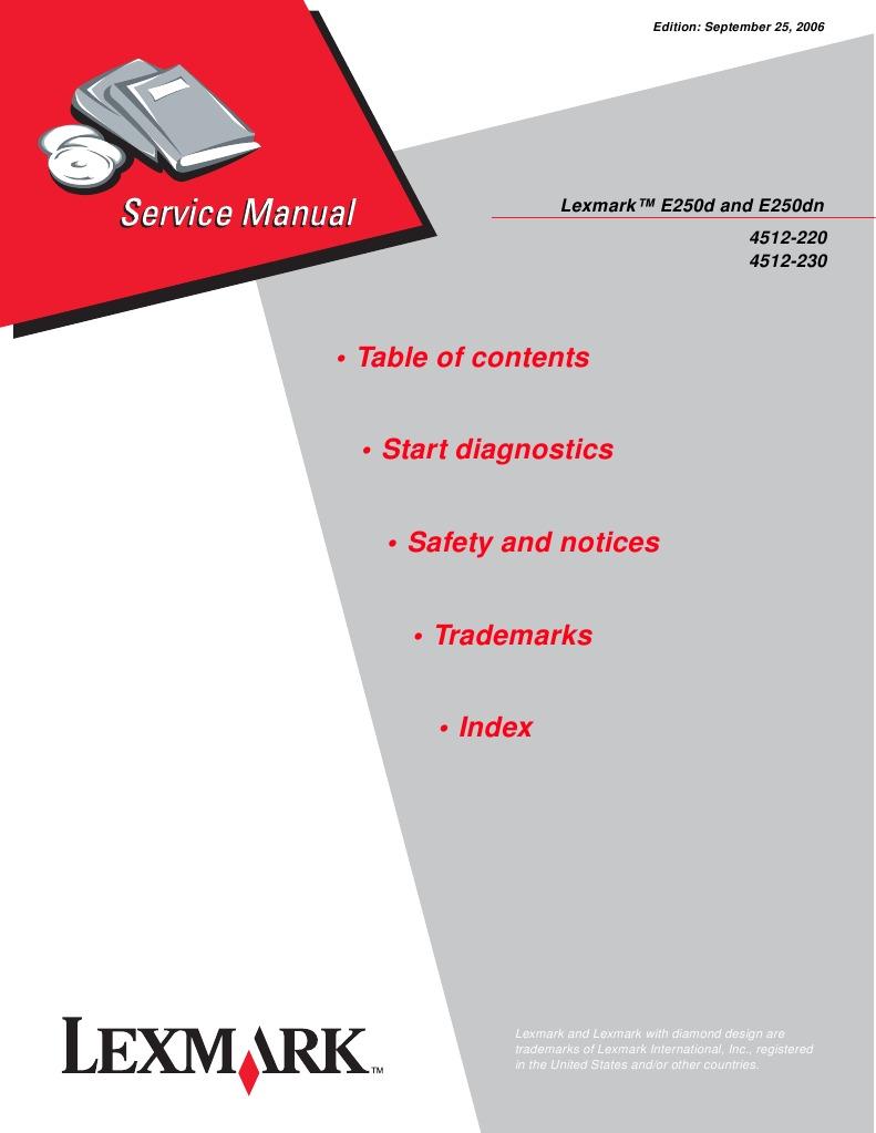 lexmark e250d e250dn 4512 220 4512 230 service parts manual