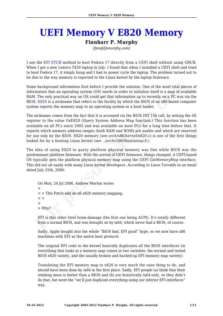 UEFI Memory v E820 Memory | Bios | Booting