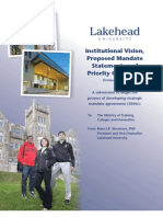 Ontario - Institutional Vision, Proposed Mandate Statement and Priority Objectives - Lakehead University