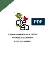 Programa Consejera Territorial Sociales+Teología Javiera Contreras 2013 CRECER
