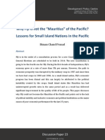 "Why Fiji is not the ""Mauritius"" of the Pacific? Lessons for Small Island Nations in the Pacific - Biman Chand Prasad - SEPTEMBER 2012"