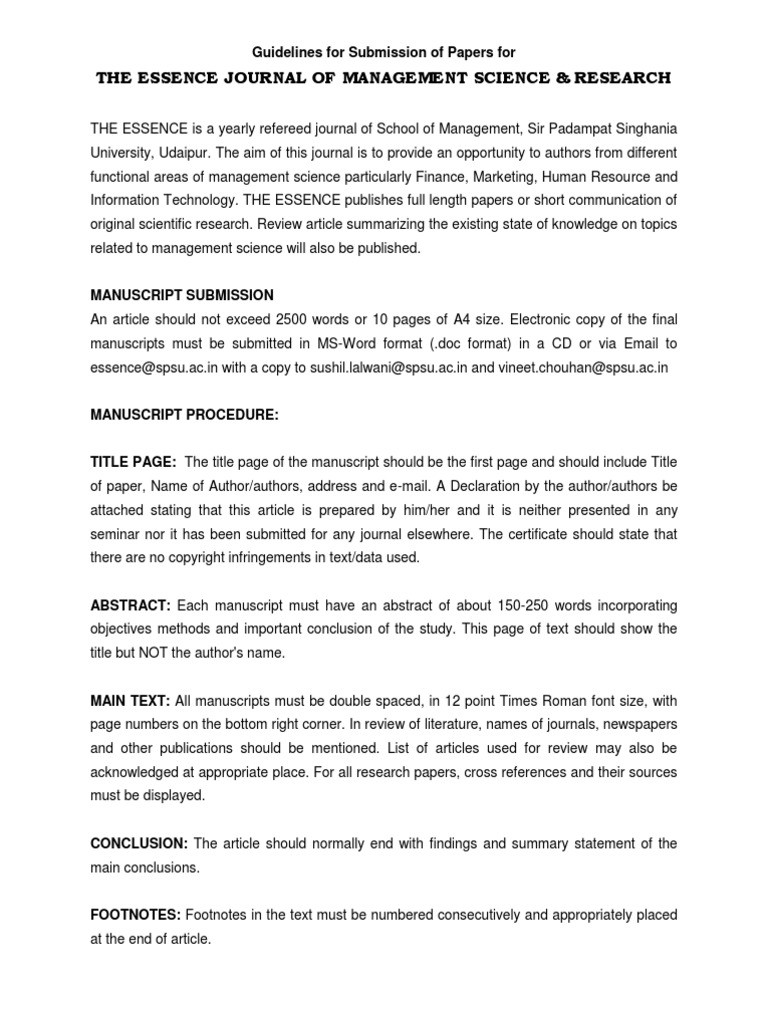 Guidelines For Submission Of Papers For ESSENCE | Abstract (Summary) |  Academic Publishing