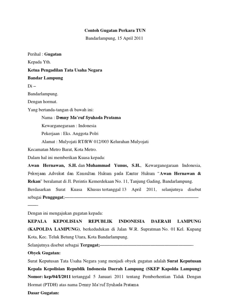 Contoh Surat Gugatan Ptun Informasi Seputar Dunia Militer