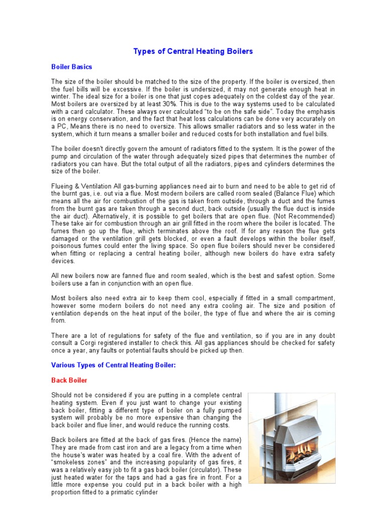 Types of Central Heating Boilers | Water Heating | Boiler