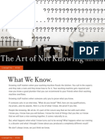The Art of Not Knowing [Issue 97]