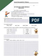 Test iniţial la matematică, clasa a IV-a