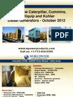Used & New Caterpillar, Cummins, Multiquip and Kohler Diesel Generators - October 2012