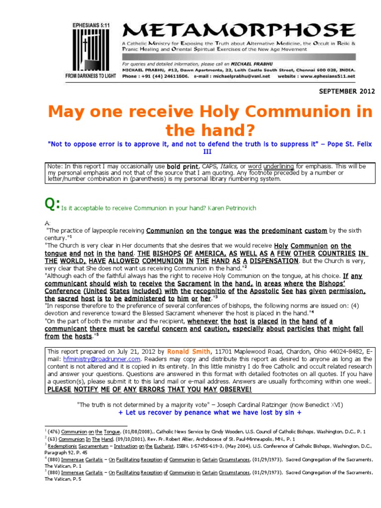 Holy - holy: what you need to know about the frequency of communion