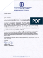 Letter from Church of Scientology OSA Ken Long