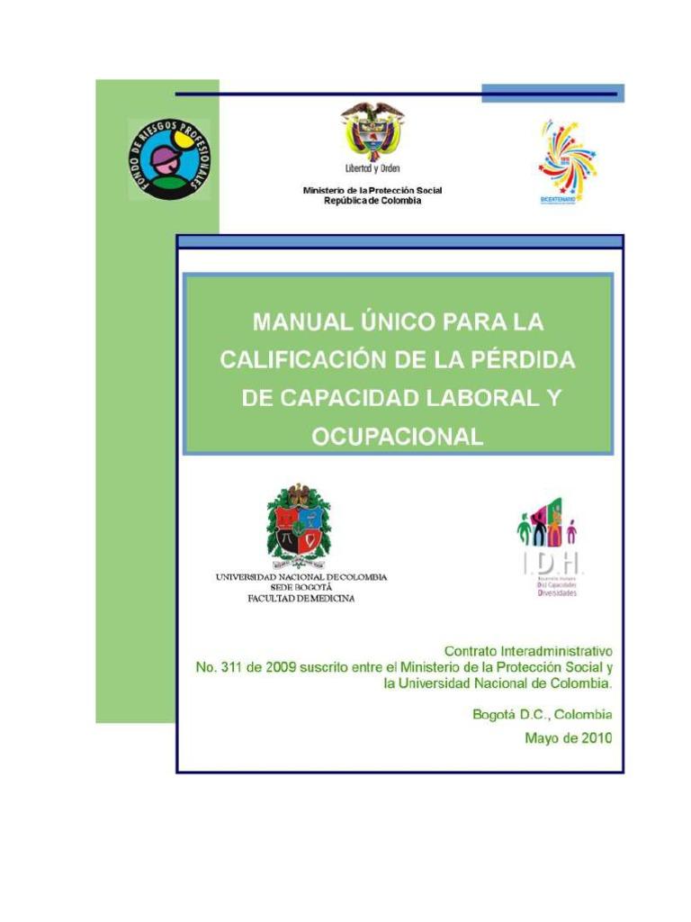 Manual Unico Para La Calificacion de La Perdida de Capacidad Laboral ...