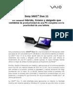 Sony presenta su nueva familia VAIO touch con Windows 8