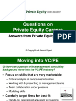 Questions on Private Equity Careers