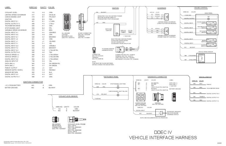 Ddec IV Oem Wiring Diagram | Conector eléctrico | Vehículos Ddec Wiring Diagram on