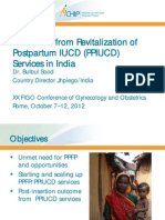 Outcomes from Revitalization of Postpartum IUCD Services in India, BSood, FIGO2012