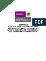 APÉNDICES DE LA GUIA PARA ELABORAR INFORMES PREVENTIVOS Y MANIFESTACIONES DE IMPACTO AMBIENTAL DE PROYECTOS DE VÍAS GENERALES DE COMUNICACIÓN
