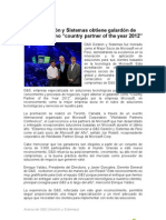 "G&S Gestión y Sistemas obtiene galardón de microsoft como ""country partner of the year 2012"""