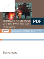 Summary of Massively Multiplayer Online (MMO) Research