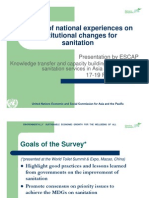 Survey of national experiences on institutional changes for sanitation